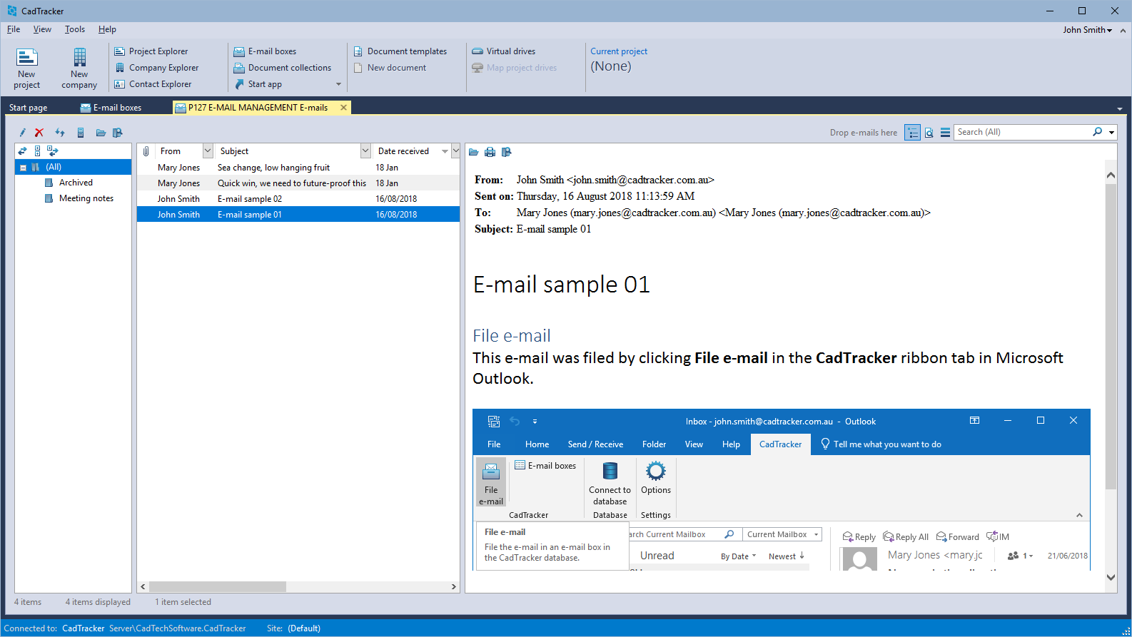 View filed e-mails in CadTracker
